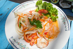 Thai vermicelli and seafood dress salad Royalty Free Stock Photo