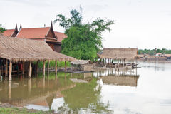 Thai village on riverside Stock Image
