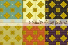 Thai vintage seamless pattern vector abstract background. 6 patterns vector illustration