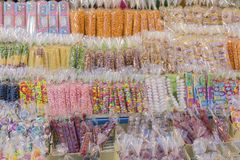 Thai vintage sweet and dessert. Thai childhood candy. Asian snack shop. Stock Image