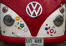 Thai Volkswagon Camper. Front of a Volkswagon Camper Van with Thai Number Plate in Bangkok, Thailand royalty free stock images