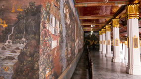 Thai wall art architecture in the Emerald Buddha temple(Wat phra kaew) and Royal Grand Palace Stock Image