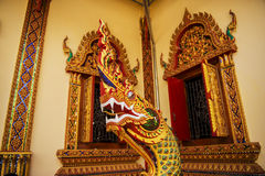 Thai wall art King Naka in the temple Royalty Free Stock Photography