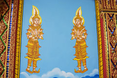 Thai wall art in the temple Stock Image