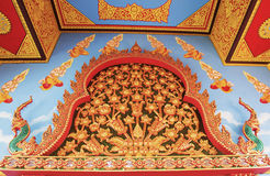 Thai wall art in the temple Royalty Free Stock Photos