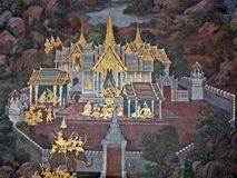 Thai Wall Painting. BANGKOK, THAILAND - FEB, 20, 2010: Wall Painting from the Wat Phra Kaew - Temple of the Emerald Buddha Royalty Free Stock Images