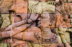 Thai wall sculpture art Royalty Free Stock Photography