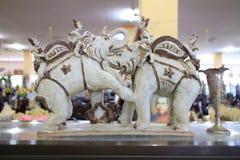 Thai war elephants statue Royalty Free Stock Photos