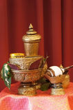 Thai water pouring ceremony set. Royalty Free Stock Photography