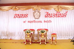 Thai wedding style table prepare for wedding couple sit and get Royalty Free Stock Image