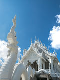 Thai White Dragon statue and church Stock Photography