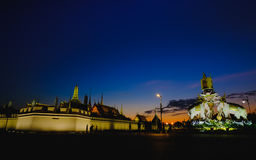 Thai White Elephants and symbols Thailand King Rama 9,in front of the Grand Palace or Emerald Buddha Temple. Stock Photos