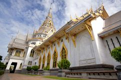 Thai white marble temple Royalty Free Stock Photo