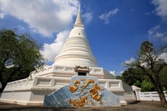 Thai White pagoda with dragon painting Royalty Free Stock Photos