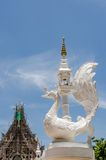 Thai white swan statue with on blue sky background at corner. Wh Stock Photography
