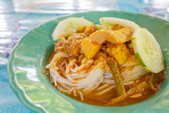 Thai white vermicelli and Fish organs sour soup. Thai white vermicelli eat with Fish organs sour soup. This is Southern Thai food style Stock Photos