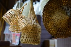 Thai wicker baskets stock image