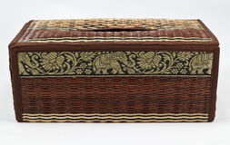 Thai wicker tissue box Royalty Free Stock Photos