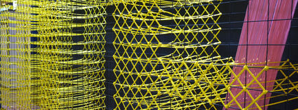 Thai wicker woven  wall  made from plastic  rope Royalty Free Stock Images