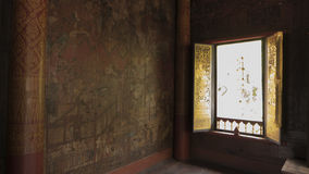Thai window art architecture in Tripitaka Hall ,Wat Rakhang Khositaram. Royalty Free Stock Image