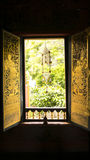 Thai window art architecture in Tripitaka Hall ,Wat Rakhang Khositaram. Royalty Free Stock Photos