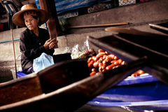 Thai Woman Boat Vendor Stock Photography