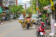 Thai: woman carrying wicker baskets Royalty Free Stock Photography