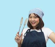Thai woman chef is cooking Thai foods Royalty Free Stock Photo