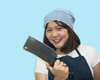 Thai woman chef is cooking Thai foods Royalty Free Stock Images