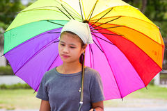 Thai woman with colorful umbrella Royalty Free Stock Photos