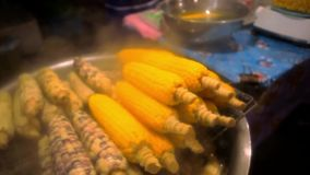 Thai woman dips a hot corn in salt solution stock video footage