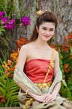 Thai woman dressing traditional. Royalty Free Stock Photos
