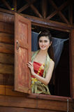 Thai woman dressing traditional. Royalty Free Stock Images