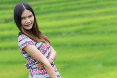 Thai Woman Enjoy in Field Doi inthanon, Maeglangluang Stock Images