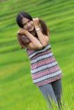 Thai Woman Enjoy in Field Doi inthanon, Maeglangluang Royalty Free Stock Photos