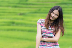 Thai Woman Enjoy in Field Doi inthanon, Maeglangluang Royalty Free Stock Images