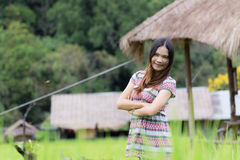 Thai Woman Enjoy in Field Doi inthanon, Maeglangluang Karen Stock Photography