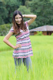 Thai Woman Enjoy in Field Doi inthanon, Maeglangluang Karen Royalty Free Stock Photos