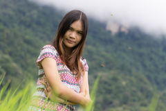 Thai Woman Enjoy in Field Doi inthanon, Maeglangluang Royalty Free Stock Photos