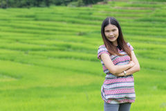 Thai Woman Enjoy in Field Doi inthanon, Maeglangluang Royalty Free Stock Images