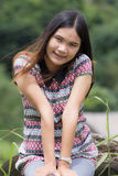 Thai Woman Enjoy on The rock in Field Doi inthanon Stock Photo