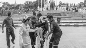 Thai woman faint during Mourning Ceremony Stock Photo