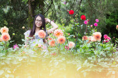 Thai Woman in the garden Royalty Free Stock Photography