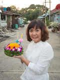 Thai Woman Hold kratong Stock Photography