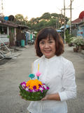 Thai Woman Hold kratong Royalty Free Stock Photo