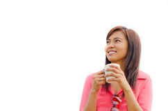 Thai woman holding coffee cup and smile Royalty Free Stock Photography