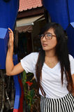 Thai woman Long hair portrait stock photos