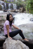 Thai woman with Mae Ya waterfall, Chiangmai Thailand Stock Images