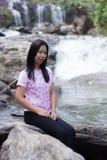Thai woman with Mae Ya waterfall, Chiangmai Thailand Stock Photography