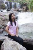 Thai woman with Mae Ya waterfall, Chiangmai Thailand Royalty Free Stock Photo